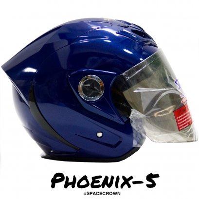 หมวกกันน็อคสเปซคราวน์ เปิดหน้า Phoenix-5 สีน้ำเงิน