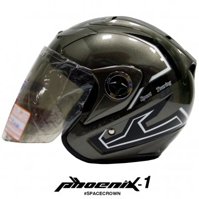 หมวกกันน็อคสเปซคราวน์ เปิดหน้า Phoenix-1 สีเทา