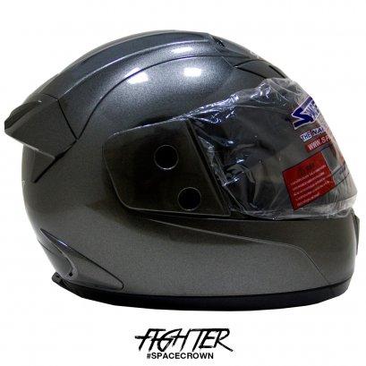 หมวกกันน็อคสเปซคราวน์ หุ้มคาง Fighter-C สีเทา