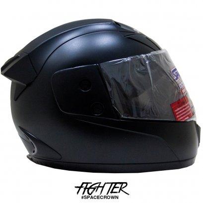 หมวกกันน็อคสเปซคราวน์ หุ้มคาง Fighter-C สีดำด้าน