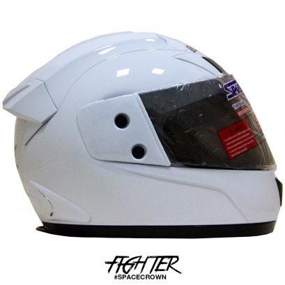หมวกกันน็อคสเปซคราวน์ หุ้มคาง Fighter-C สีขาว
