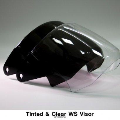 ชิลด์/หน้าแว่นอะไหล่ หมวกกันน็อค สีดำ-ใส รุ่น EX, Vision, WS