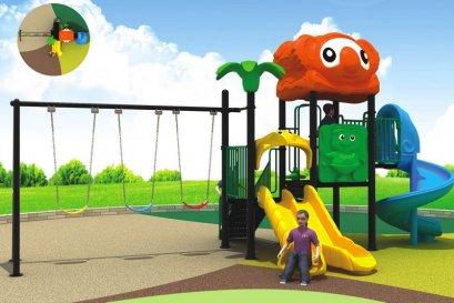 Sealplay สนามเด็กเล่น กระดานลื่น สไลเดอร์- เครื่องเล่นสนาม A ชุดโคอาล่าดับเบิ้ลสไลด์ทริปเปิลสวิง