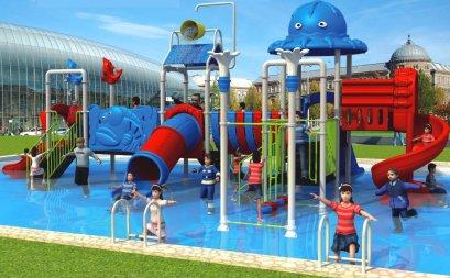 Sealplay สนามเด็กเล่น กระดานลื่น สไลเดอร์- เครื่องเล่นสนาม สวนน้ำ-ชุดออคโตพัสวอเตอร์เวิลด์