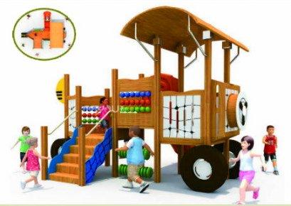 เครื่องเล่นสนาม ชุดวูดเด้นคาร์-เครื่องเล่นสนามไม้ กระดานลื่นไม้ Wooden playground ไม้ Rosewood นำเข้า by Sealplay