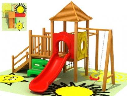 เครื่องเล่นสนาม ชุดสมอลฮัทวิทสวิง-เครื่องเล่นสนามไม้ กระดานลื่นไม้ Wooden playground ไม้ Rosewood นำเข้า by Sealplay