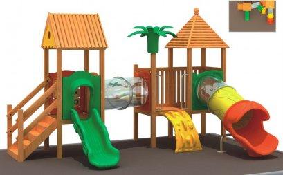 เครื่องเล่นสนาม ชุดเนเบอร์เฮ้าส์สไลด์-เครื่องเล่นสนามไม้ กระดานลื่นไม้ Wooden playground ไม้ Rosewood นำเข้า by Sealplay