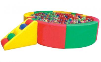 บ่อบอลนุ่มวงกลมบันไดลอน