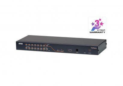 KH2516A 2-Console 16-Port Multi-Interface (DisplayPort, HDMI, DVI, VGA) Cat 5 KVM Switch