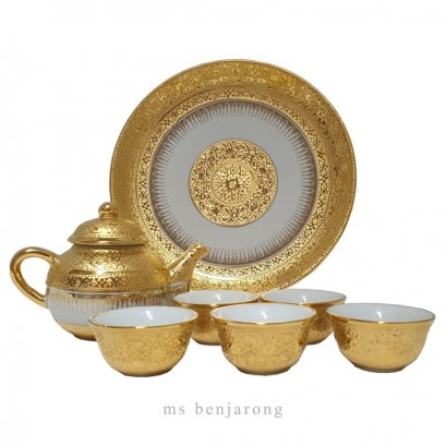Fish Sauce Tea Set | Benjarong | Gold