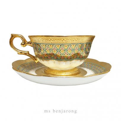 Bone China Tea Cup | Benjarong + Gold