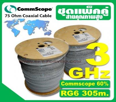 ชุดแพ็คคู่x2 สายRG6 Commscope 305ม.
