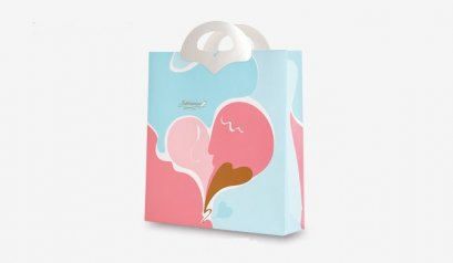 C1607-1 pattern paper bag 32 * 8 * 34 (H) cm @ 10
