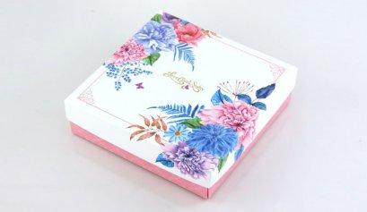 D061B-2 กล่อง ชมพู ลาย Love Comes Softly 18.6x18.6x5 cm