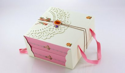Y-037 Cake Box: 2 Pieces Happiness Forever 21.5x21.5x5.7(H) cm