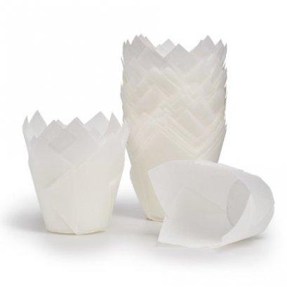 ถ้วยอบกระดาษ ทิวลิป สีขาว ก้น 50 สูง 80 mm@100