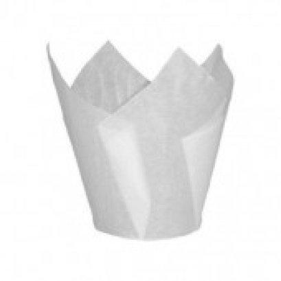 ถ้วยอบกระดาษ ทิวลิป ขาว เล็ก ก้น 30 สูง 65 mm@100