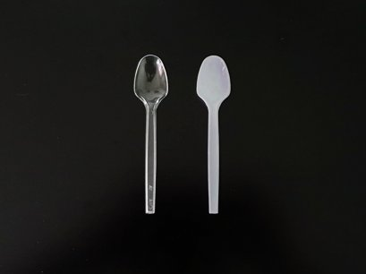 ช้อนพลาสติก PS เล็ก ใส / ขาวนม