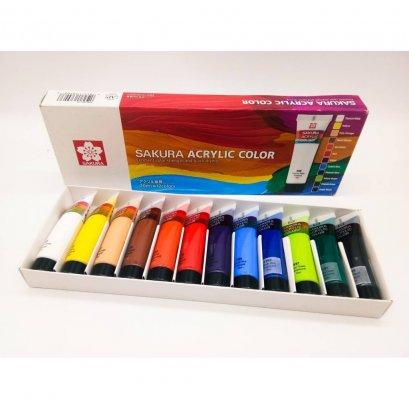สีอาคริลิค Acrylic Sakura ชุด 12 สี บรรจุ หลอดละ 20มล.