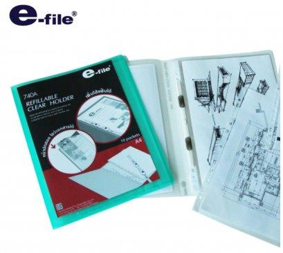 แฟ้มสอด A4 e-file 740A 10 ไส้เติมไส้ได้