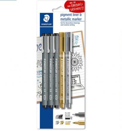 ปากกา Pigment Liner STAEDTLER 01/02/2.0+Metallic เงิน,ทอง