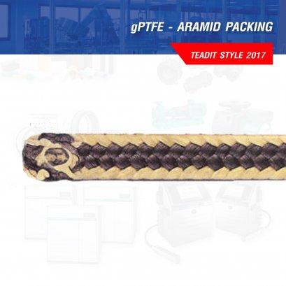 gPTFE - ARAMID  PACKING ปะเก็นเส้นเชือกถักกราไฟท์เทปล่อน - อะรามิด