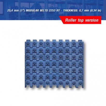 """25,4 mm (1"""") MODULAR BELTS 2253 RT - THICKNESS: 8,7 mm (0.34 in)"""