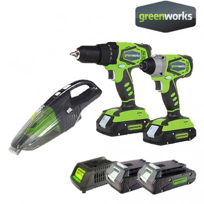 DRILL/DRIVER 24V COMBO KIT INCLUDING 2x2AH BATTERIES AND CHARGER FREE! VACUUM CLEANER 24V (1,600฿)