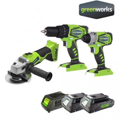 DRILL/DRIVER 24V COMBO KIT INCLUDING 2x2AH BATTERIES AND CHARGER + ANGLE GRINDER 24V