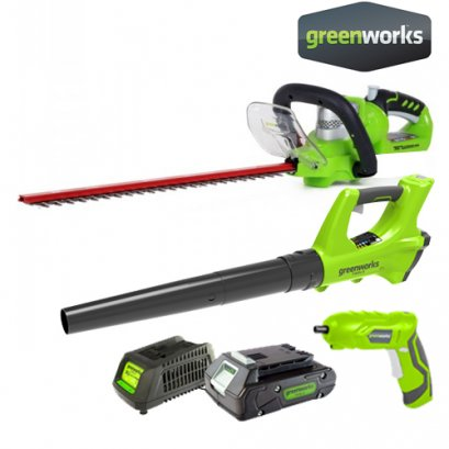BATTERY HEDGE TRIMMER 24V DELUXE INCLUDING BATTERY(2AH) AND CHARGER + AXIAL BLOWER 24V + CORDLESS SCREWDRIVER