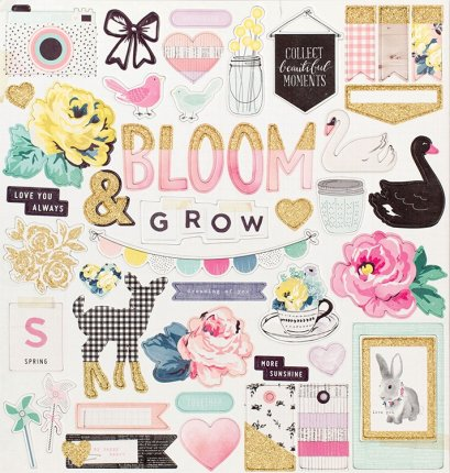 Maggie Holmes Collection Bloom Chipboard Stickers with Glitter
