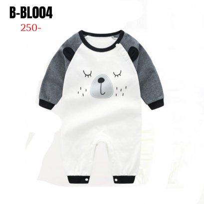 [พร้อมส่ง 90,100] [B-BL004] ชุดบอดี้สูทขายาวเด็กชายลายหมี ติดกระดุมด้านหน้า ผ้าหนานุ่มใส่สบาย