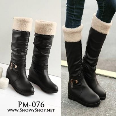 [PreOrder] [PM-076]Pangmama รองเท้าบู๊ทสีดำเนื้อหนังบุขนด้านในใว่กันหนาวลุยหิมะได้ไม่เปียกค่ะ