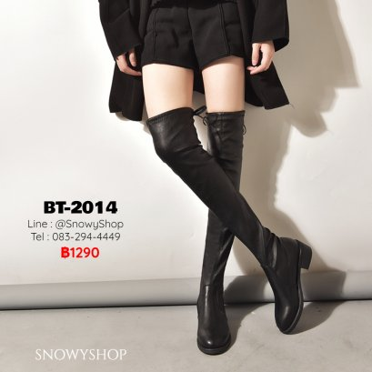 [พร้อมส่ง 36,37,38,39] [BT-2014]  Long Boots รองเท้าบู๊ทหนังยาวสีดำ ด้านในซับขนกันหนาว หัวแหลม ขอบบนด้านหลังผูกเชือก ส้นเตี้ยค่ะ