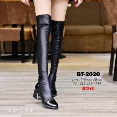 [พร้อมส่ง 36,37,38,39] [BT-2020]  Long Boots รองเท้าบู๊ทหนังยาวสีดำ ด้านในซับขนกันหนาว หัวแหลม ส้นเตี้ยค่ะ