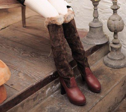 [[พร้อมส่ง 38]] [PH-013] Prince Home++รองเท้าบู๊ท++รองเท้าบู๊ทยาวผ้าหนังกำมะหยีสีน้ำตาลเข้ม หัวมนค่ะ