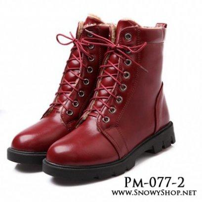 [[พร้อมส่ง 36,38,39,42 ]] [Boots] [Pm-077-2] Pangmama รองเท้าบู๊ทสีแดงหนังมันซับขนกันหน้าด้านใน รุ่นนี้ใส่ลุยหิมะได้ค่ะ กันหนาวกันน้ำได้