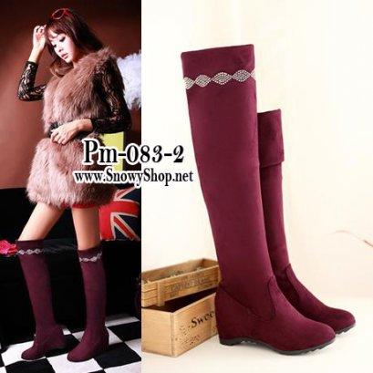[[*พร้อมส่ง37 ]] [Boots] [Pm-083-3] Pangmama รองเท้าบู๊ทสูงสีไวน์แดงกำมะหยี่ สามารถพับได้ตามสะดวก แนะนำค่ะสวยมาก