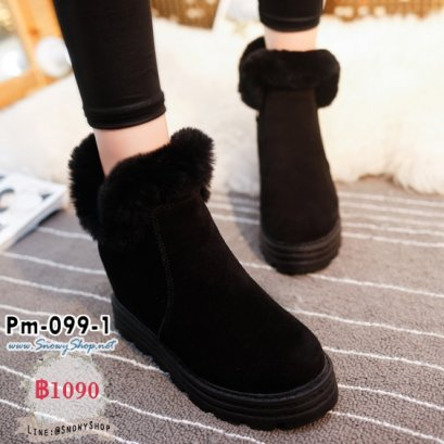 [PreOrder] [Boots] [Pm-099-1] รองเท้าบูทสั้นสีดำ มีซิปข้าง แต่งขนเฟอร์ด้านในซับขนกันหนาว กันน้ำ เล่นหิมะได้เลยค่ะ
