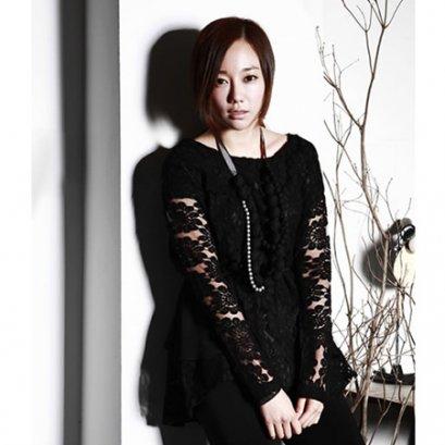[[*พร้อมส่ง F]] [เสื้อลูกไม้] [SZ-9526] SZ++เสื้อ++เสื้อสีดำผ้าลูกไม้ แขนยาว หรูหรามีสไตล์ค่ะ