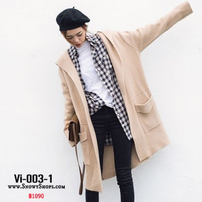 [PreOrder]  [Vi-003-1]  เสื้อคลุมไหมพรมสีน้ำตาล มีหมวกฮู้ดและกระเป๋าหน้า ใส่กันหนาวน่ารักมากๆ