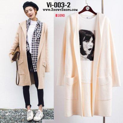 [PreOrder] [Vi-003-2]  เสื้อคลุมไหมพรมสีครีม มีหมวกฮู้ดและกระเป๋าหน้า ใส่กันหนาวน่ารักมากๆ