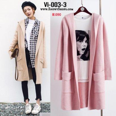 [PreOrder] [Vi-003-3]  เสื้อคลุมไหมพรมสีชมพู มีหมวกฮู้ดและกระเป๋าหน้า ใส่กันหนาวน่ารักมากๆ