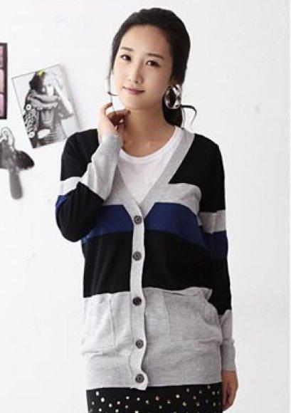 [[พร้อมส่ง F]] [SZ-163] SZ++เสื้อกันหนาว++เสื้อกันหนาวผ้าคัตติ้งนุ่มๆ แขนยาวลายสีเทาน้ำเงิน เสื้อตัวยาวติดกระดุมหน้าค่ะ
