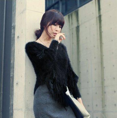 [[*พร้อมส่ง F]] [SZ-3345] SZ ++เสื้อคลุม++ เสื้อคลุมไหมพรมสีดำ