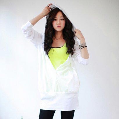 [[*พร้อมส่ง S]] [SZ-9689] Style By SZ++เสื้อ++เสื้อแขนยาวมีฮู้ดสีขาว