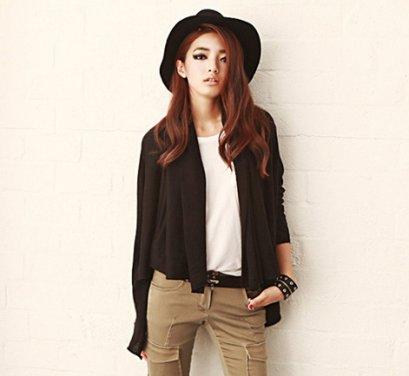 [[*พร้อมส่ง F ]] [SZ-9766] Style By SZ++เสื้อไหมพรม++เสื้อคลุมไหมพรมสีดำกันหนาวแขนยาว