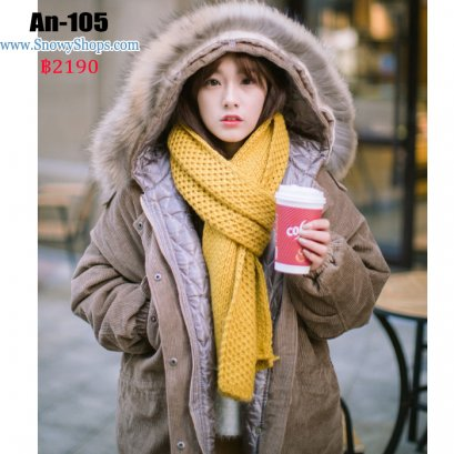 [พร้อมส่ง S,M] [An-105] เสื้อโค้ทกันหนาวสีน้ำตาล ผ้าลูกฟูก ด้านในบุกันหนาว ปลายแขนจั๊ม  มีหมวกฮู้ดพร้อมแต่งเฟอร์ (เฟอร์ถอดได้)