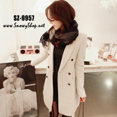 [[PreOrder]] [SZ-9957] Style By SZ เสื้อโค้ทกันหนาวสีครีมผ้าวูลหนาใส่กันหนาว สไตล์โค้ทสูทยาว เรียบแต่ดูดีมาก