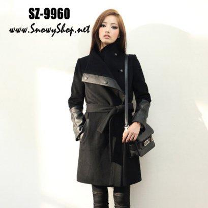 [[*พร้อมส่ง S,M]] [SZ-9960] Style By SZ เสื้อโค้ทกันหนาวสีดำ ผ้าวูลหนา ซับกันหนาวอย่างดี พร้อมผ้าผูกเอวสไตล์ชิค